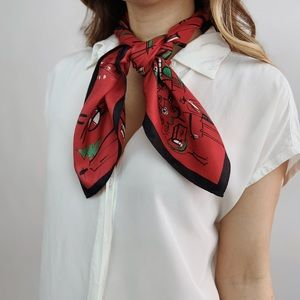 Vintage Red Holiday Square Scarf